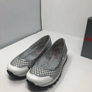 PRADA Shoes - New PRADA White Silver Sneakers Size 8.5